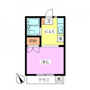 【ビフォー】大蔵5丁目1Kリノベーション前旧間取