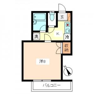 大蔵5丁目1K賃貸アパート間取図