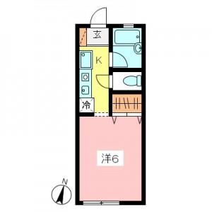 世田谷区砧3丁目1K賃貸アパート間取図