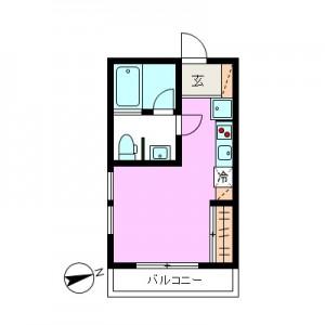 世田谷区経堂4丁目高セキュリティーワンルーム賃貸201号室間取図