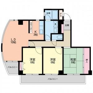世田谷区砧4丁目 3LDK 賃貸マンション301号室間取図
