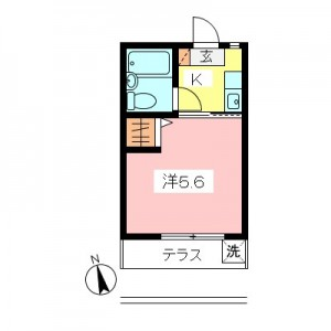 世田谷区砧3丁目 4万円台1K賃貸アパート間取図