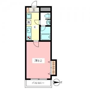 世田谷区千歳台2丁目 オートロック・防犯カメラ付高セキュリティ1K賃貸マンション2階3号室間取図
