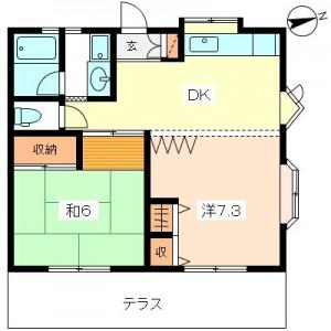 小田急線祖師ヶ谷大蔵駅徒歩8分 祖師谷3丁目 2DK賃貸アパート1階2号室間取図
