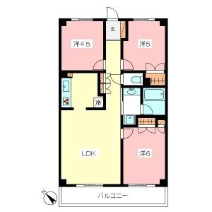 世田谷区喜多見6丁目のRC造3LDK高セキュリティ賃貸マンション3号室間取図