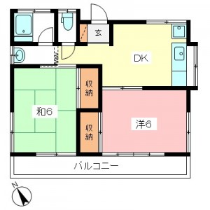 小田急線祖師ヶ谷大蔵駅徒歩17分 千歳台2丁目の2DK賃貸アパート 201号室間取図