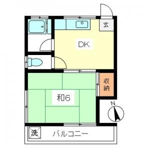 祖師ヶ谷大蔵駅徒歩7分、世田谷区砧5丁目1DK賃貸アパート最上階南西角部屋間取図