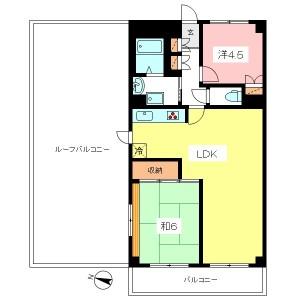 世田谷区千歳台4丁目のルーフバルコニー付2LDK賃貸マンション間取図